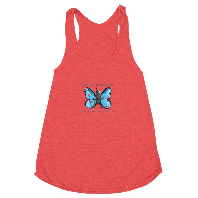 Battle Damaged Butterfly Women's Racerback Triblend Tank by Every Drop's An Idea's Artist Shop