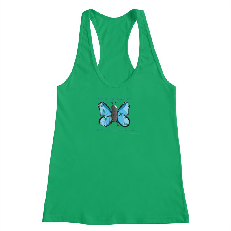 Battle Damaged Butterfly Women's Racerback Tank by Every Drop's An Idea's Artist Shop