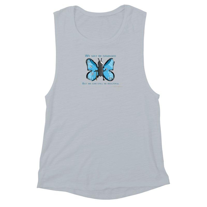 Battle Damaged Butterfly Women's Muscle Tank by Every Drop's An Idea's Artist Shop