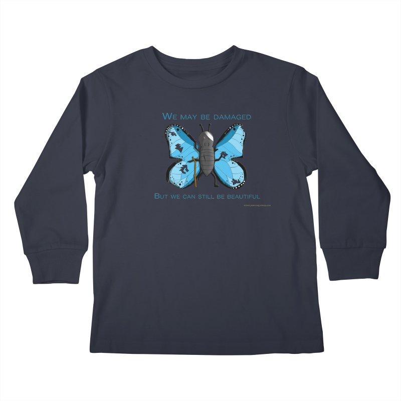 Battle Damaged Butterfly Kids Longsleeve T-Shirt by Every Drop's An Idea's Artist Shop