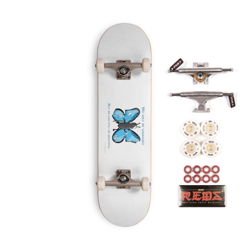 Battle Damaged Butterfly Accessories Skateboard by Every Drop's An Idea's Artist Shop