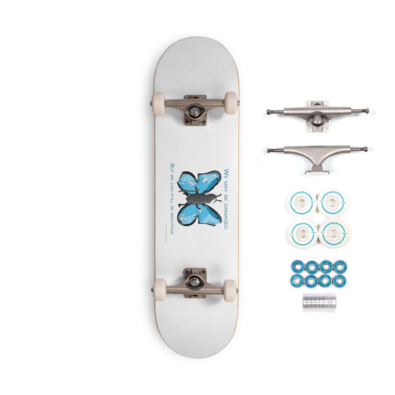 Battle Damaged Butterfly Accessories Skateboard by Every Drop's An Idea's Artist Shop