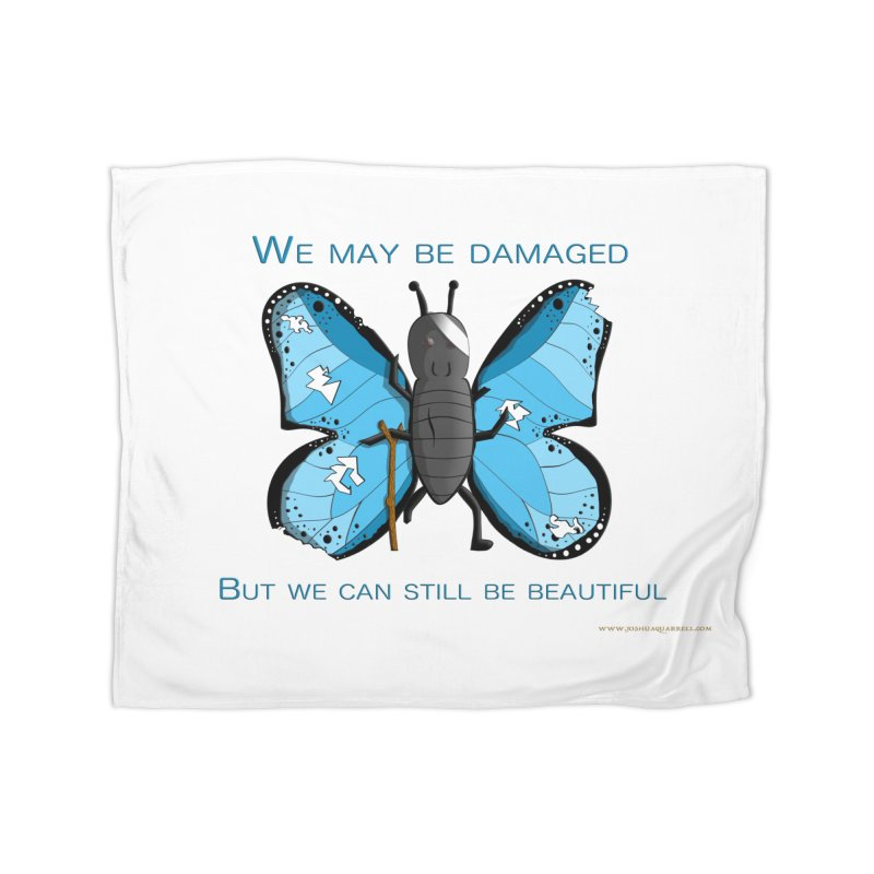 Battle Damaged Butterfly Home Fleece Blanket Blanket by Every Drop's An Idea's Artist Shop