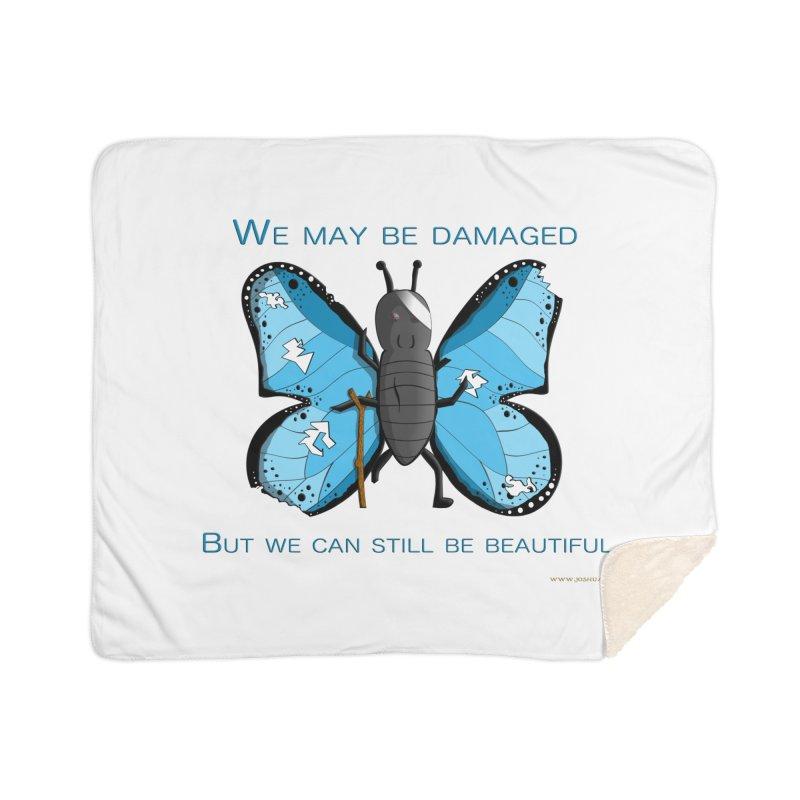 Battle Damaged Butterfly Home Sherpa Blanket Blanket by Every Drop's An Idea's Artist Shop