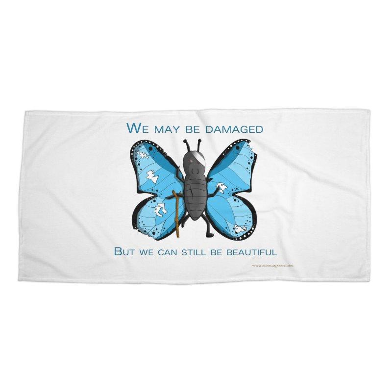 Battle Damaged Butterfly Accessories Beach Towel by Every Drop's An Idea's Artist Shop