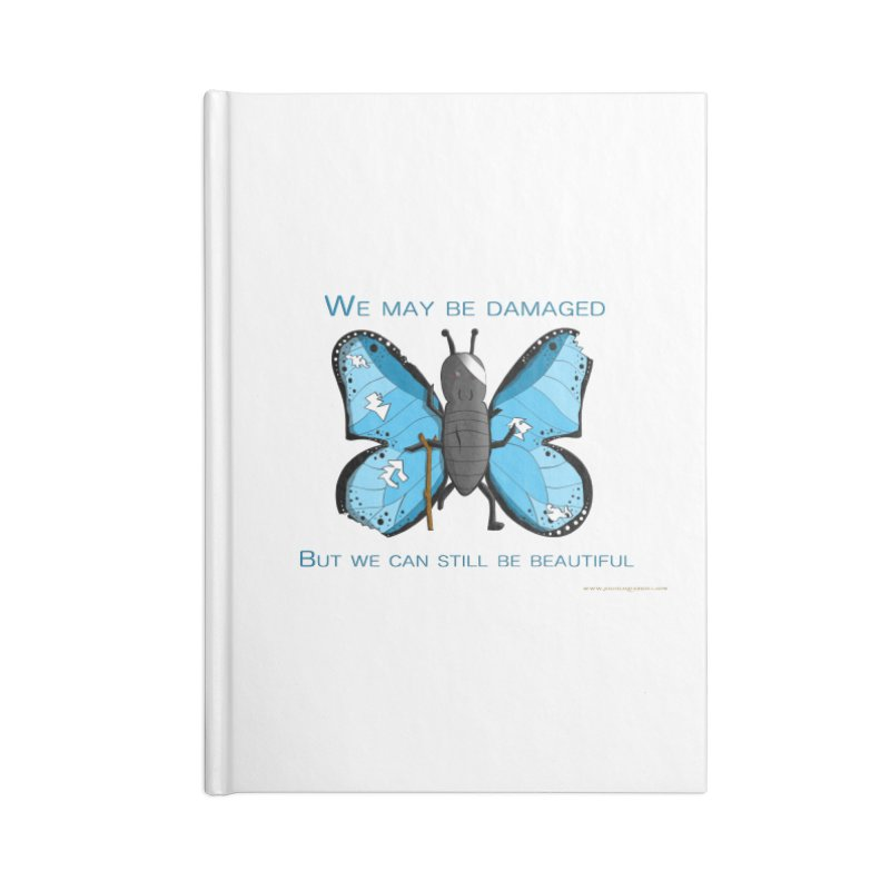 Battle Damaged Butterfly Accessories Lined Journal Notebook by Every Drop's An Idea's Artist Shop