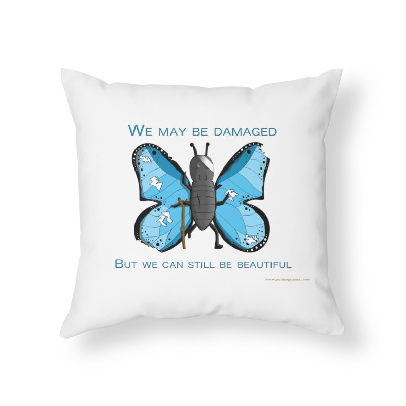 Battle Damaged Butterfly Home Throw Pillow by Every Drop's An Idea's Artist Shop