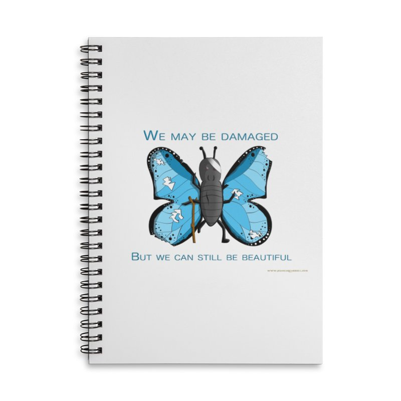 Battle Damaged Butterfly Accessories Lined Spiral Notebook by Every Drop's An Idea's Artist Shop