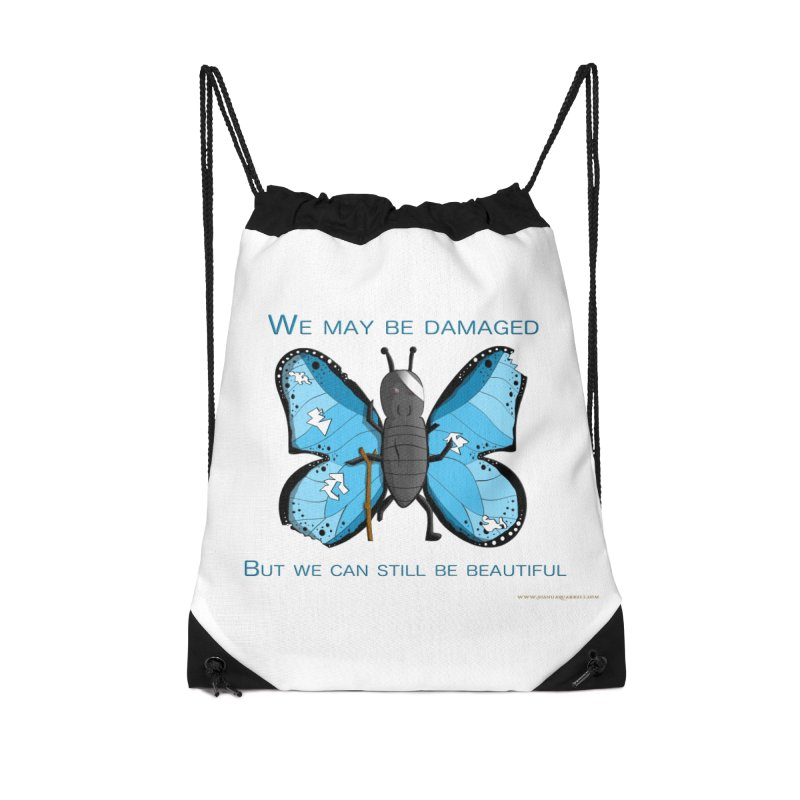 Battle Damaged Butterfly Accessories Drawstring Bag Bag by Every Drop's An Idea's Artist Shop