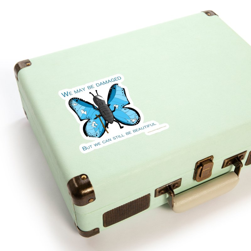 Battle Damaged Butterfly Accessories Sticker by Every Drop's An Idea's Artist Shop