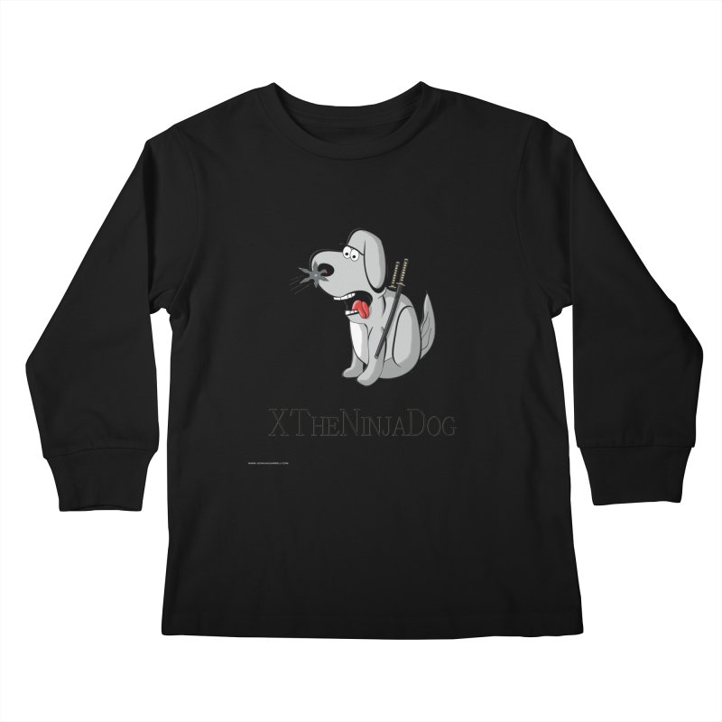 XTheNinjaDog Kids Longsleeve T-Shirt by Every Drop's An Idea's Artist Shop