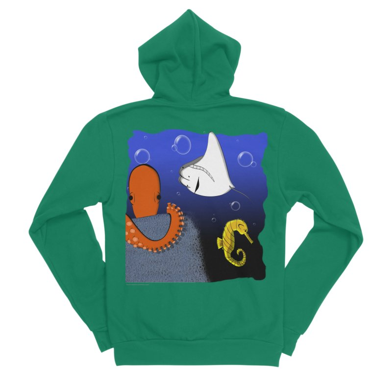 Sea Life Men's Sponge Fleece Zip-Up Hoody by Every Drop's An Idea's Artist Shop