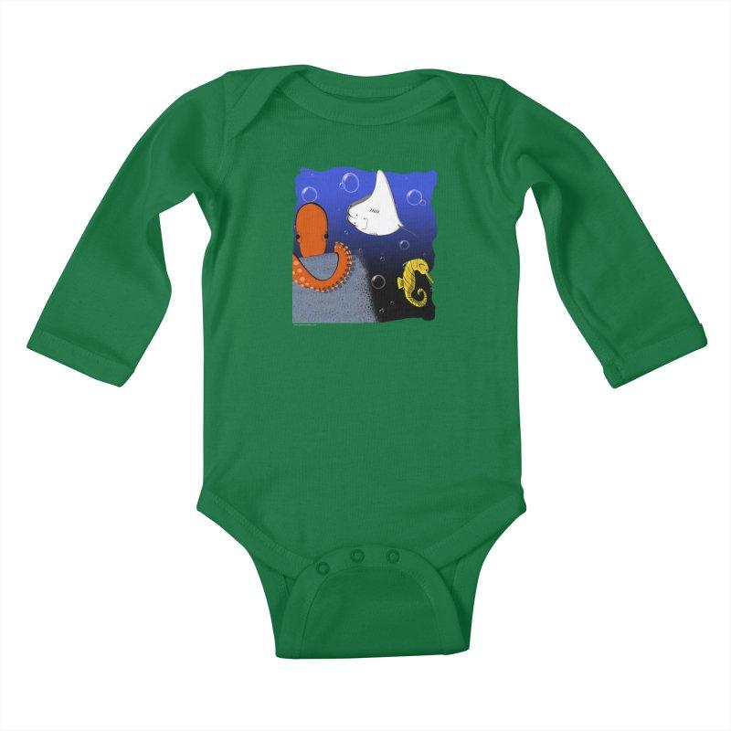 Sea Life Kids Baby Longsleeve Bodysuit by Every Drop's An Idea's Artist Shop