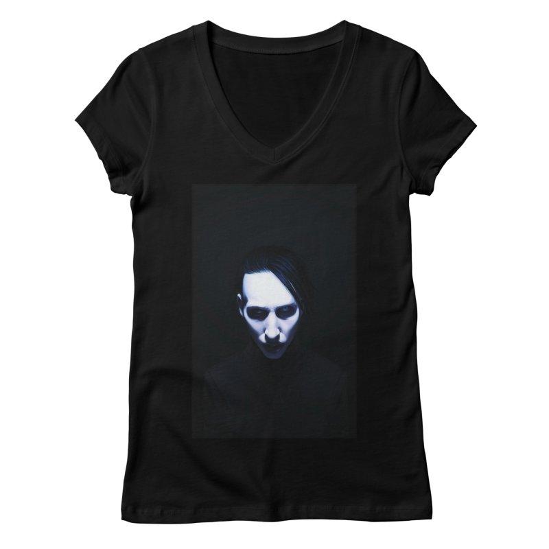 Marilyn Manson Women's Regular V-Neck by Evolution Comics INC