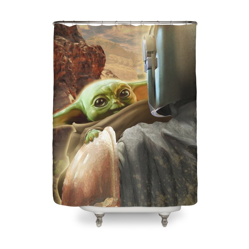 Mando, Hold My Baby Home Shower Curtain by Evolution Comics INC