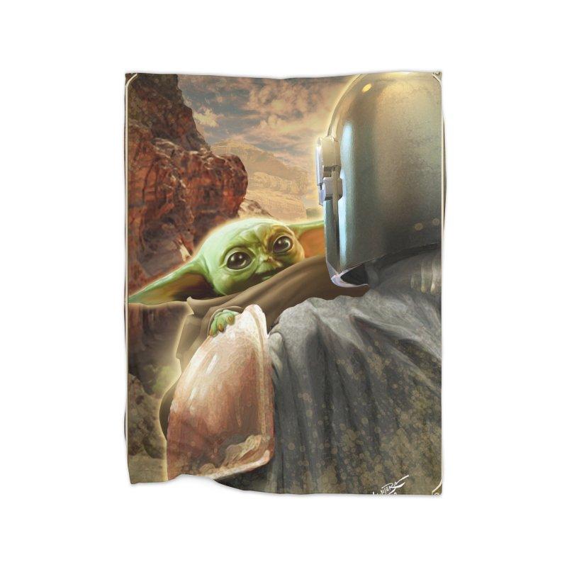 Mando, Hold My Baby Home Fleece Blanket Blanket by Evolution Comics INC