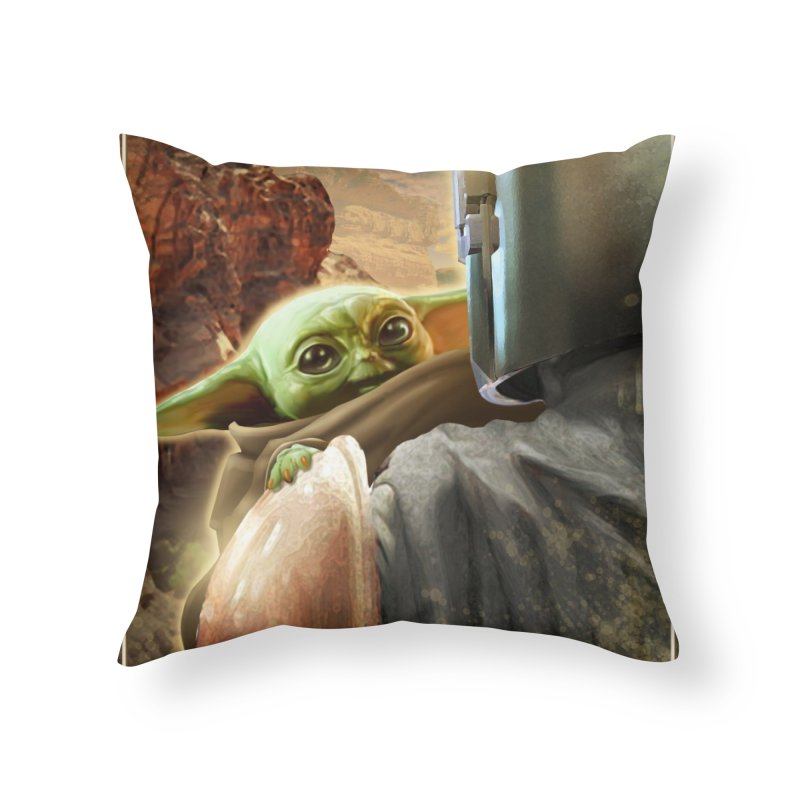 Mando, Hold My Baby Home Throw Pillow by Evolution Comics INC