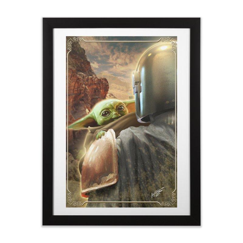 Mando, Hold My Baby Home Framed Fine Art Print by Evolution Comics INC