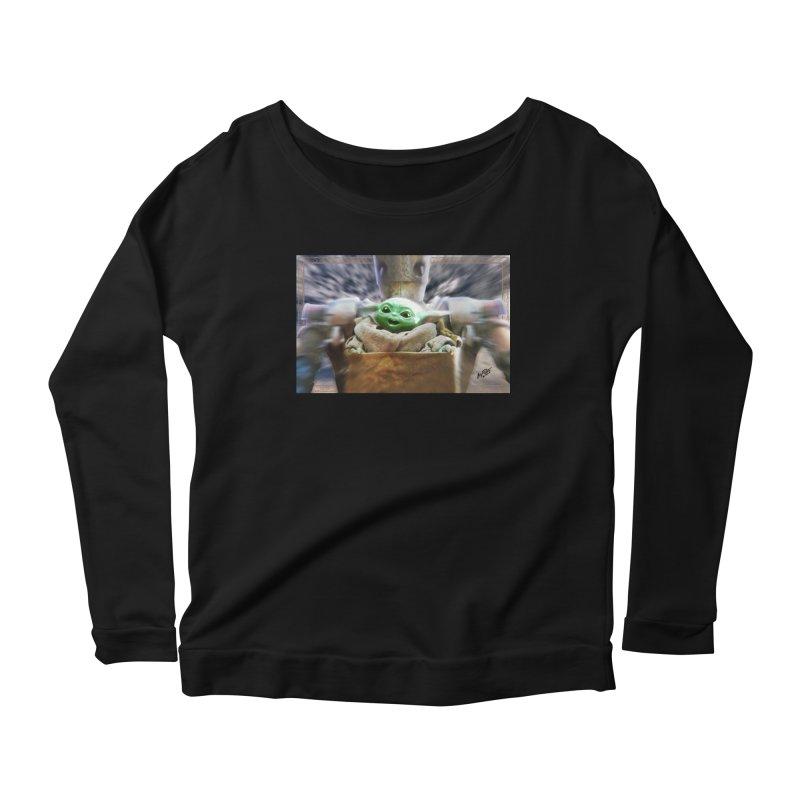 Happy Baby Rider Women's Scoop Neck Longsleeve T-Shirt by Evolution Comics INC