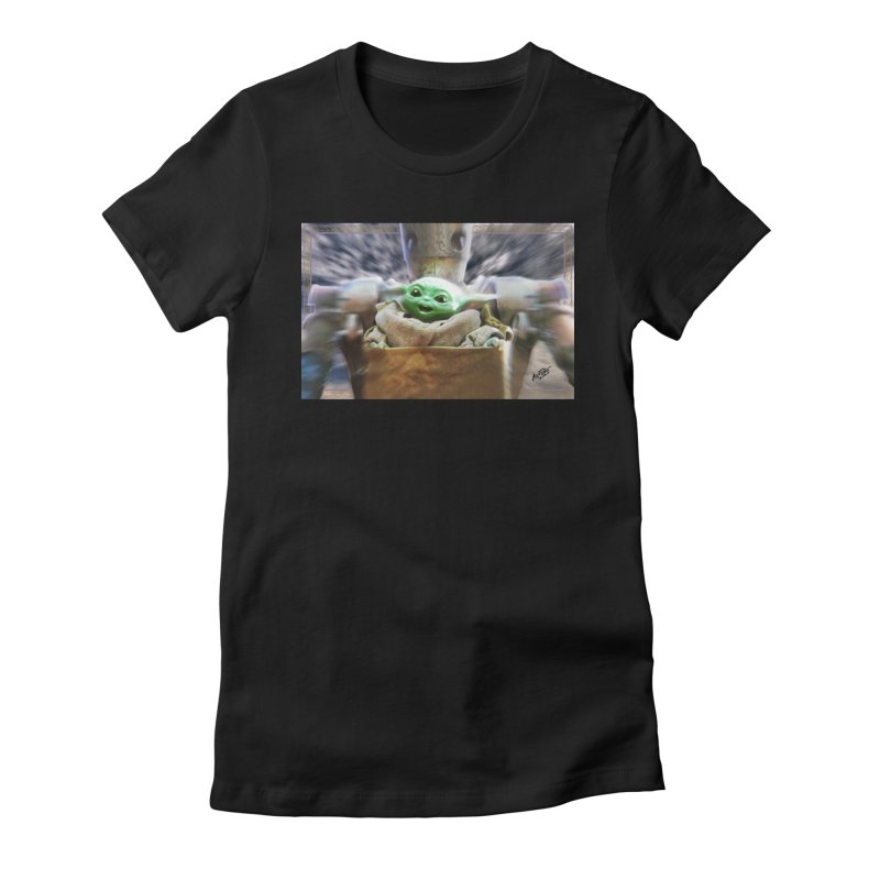 Happy Baby Rider Women's Fitted T-Shirt by Evolution Comics INC