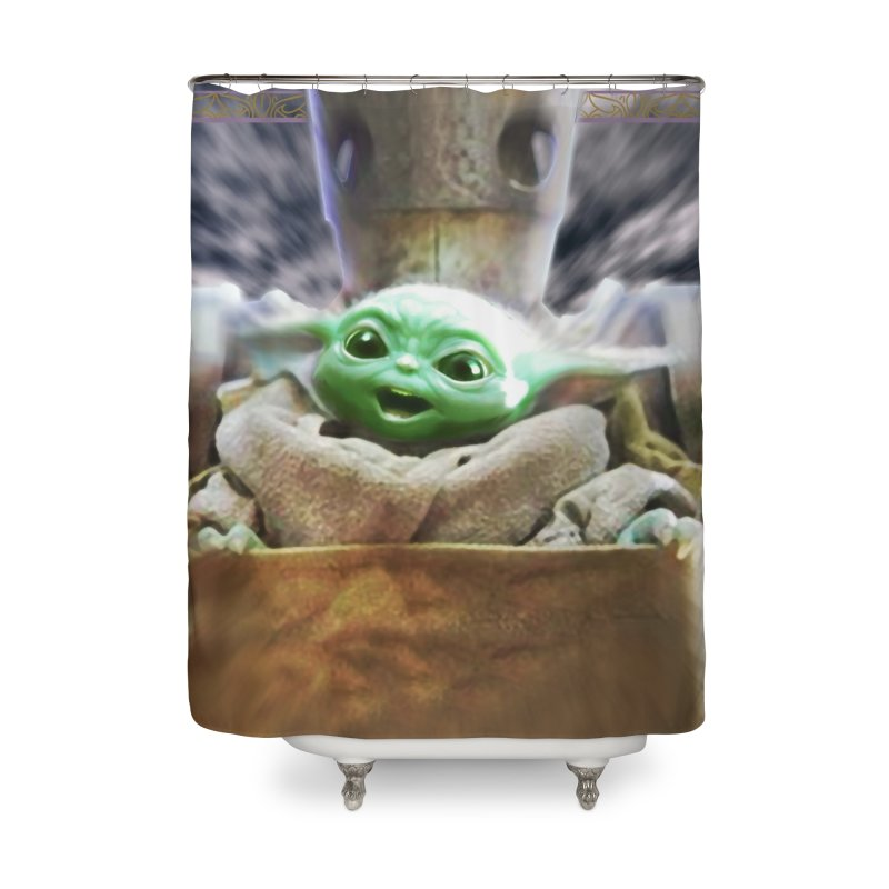 Happy Baby Rider Home Shower Curtain by Evolution Comics INC