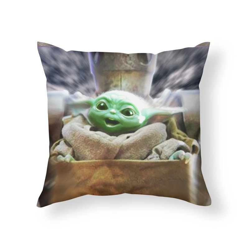 Happy Baby Rider Home Throw Pillow by Evolution Comics INC