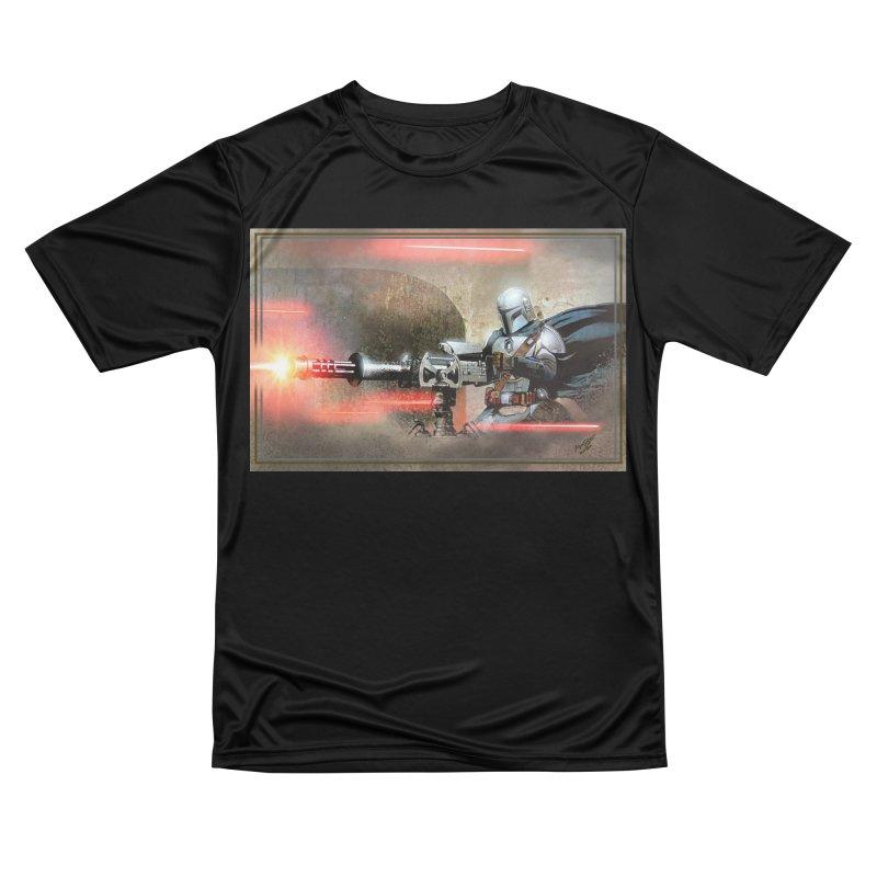 Mando on a Gunner Men's Performance T-Shirt by Evolution Comics INC