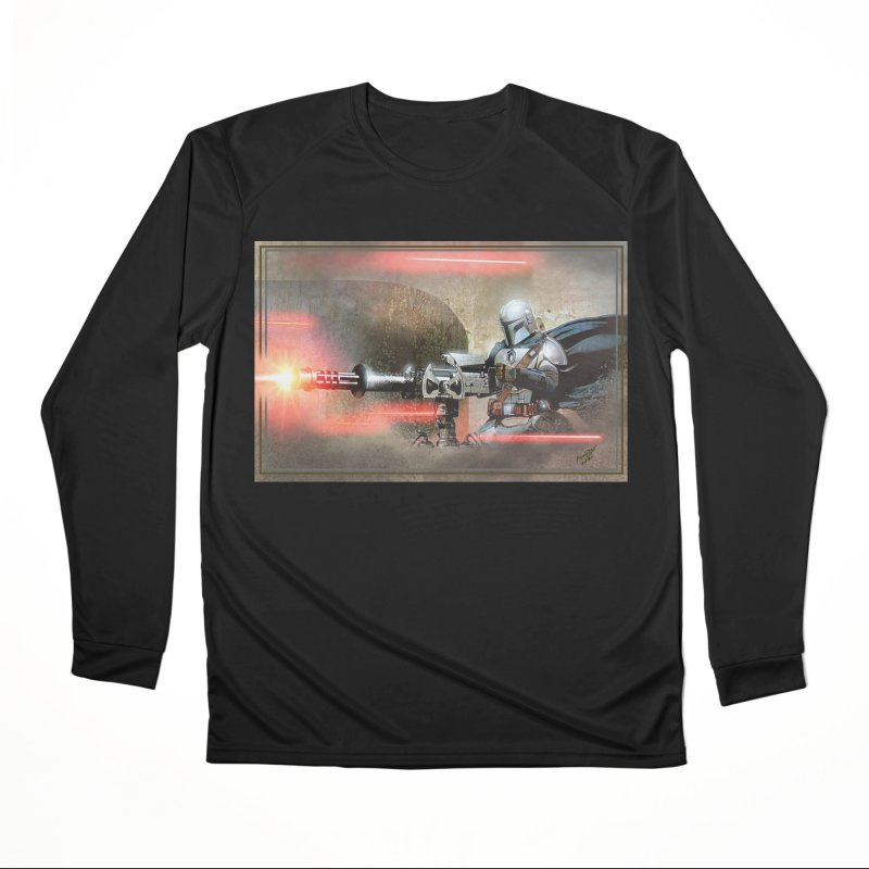 Mando on a Gunner Men's Performance Longsleeve T-Shirt by Evolution Comics INC