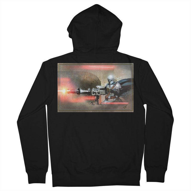 Mando on a Gunner Men's French Terry Zip-Up Hoody by Evolution Comics INC