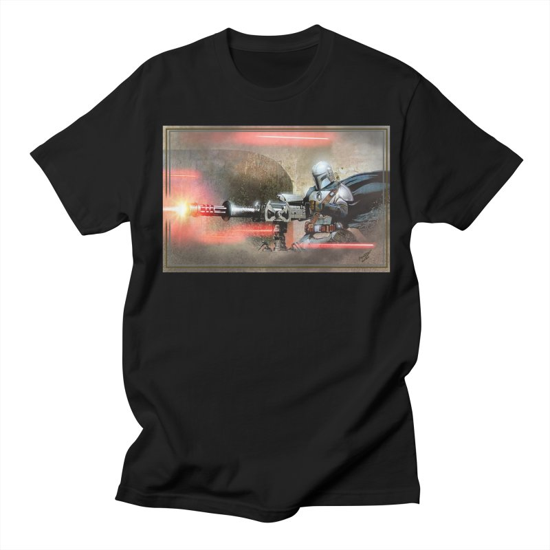 Mando on a Gunner Men's Regular T-Shirt by Evolution Comics INC