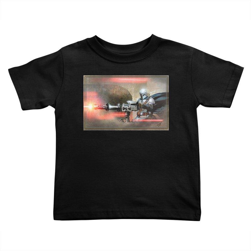 Mando on a Gunner Kids Toddler T-Shirt by Evolution Comics INC
