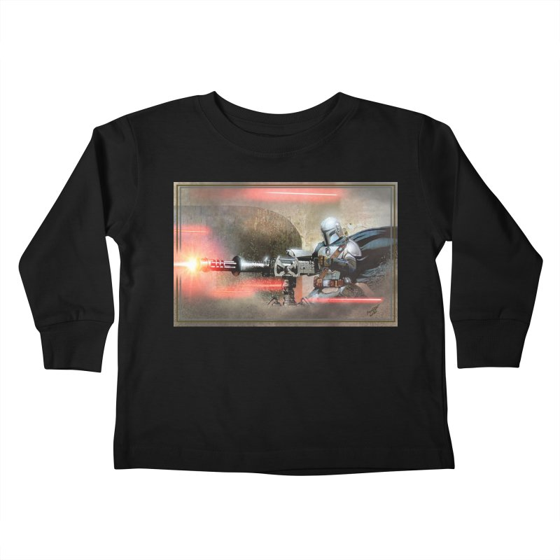 Mando on a Gunner Kids Toddler Longsleeve T-Shirt by Evolution Comics INC