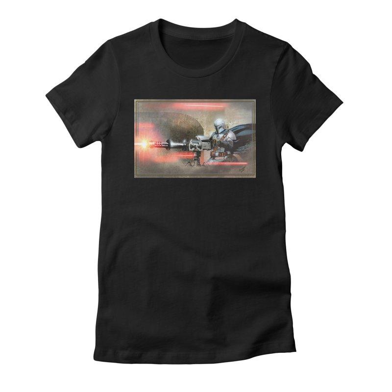 Mando on a Gunner Women's Fitted T-Shirt by Evolution Comics INC