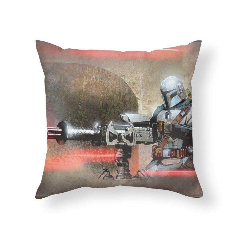 Mando on a Gunner Home Throw Pillow by Evolution Comics INC