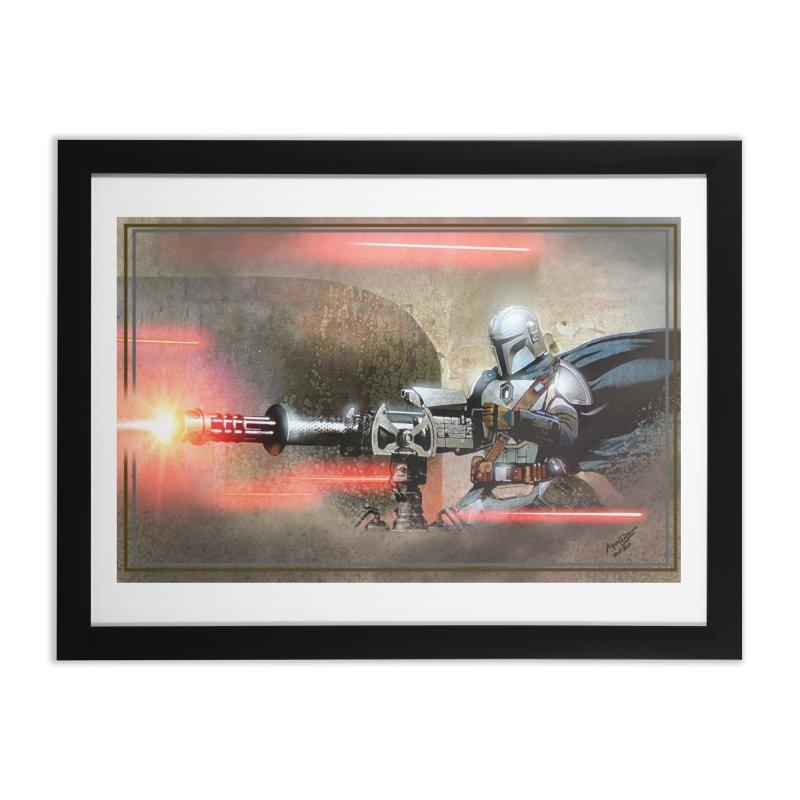 Mando on a Gunner Home Framed Fine Art Print by Evolution Comics INC