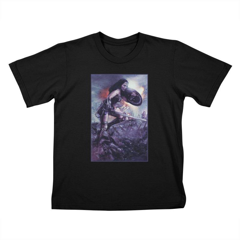 Wonder Woman Action - Gal Gadot Kids T-Shirt by Evolution Comics INC