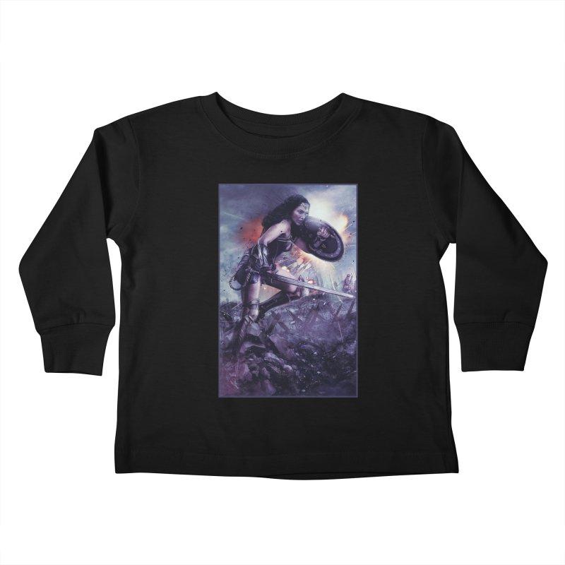 Wonder Woman Action - Gal Gadot Kids Toddler Longsleeve T-Shirt by Evolution Comics INC