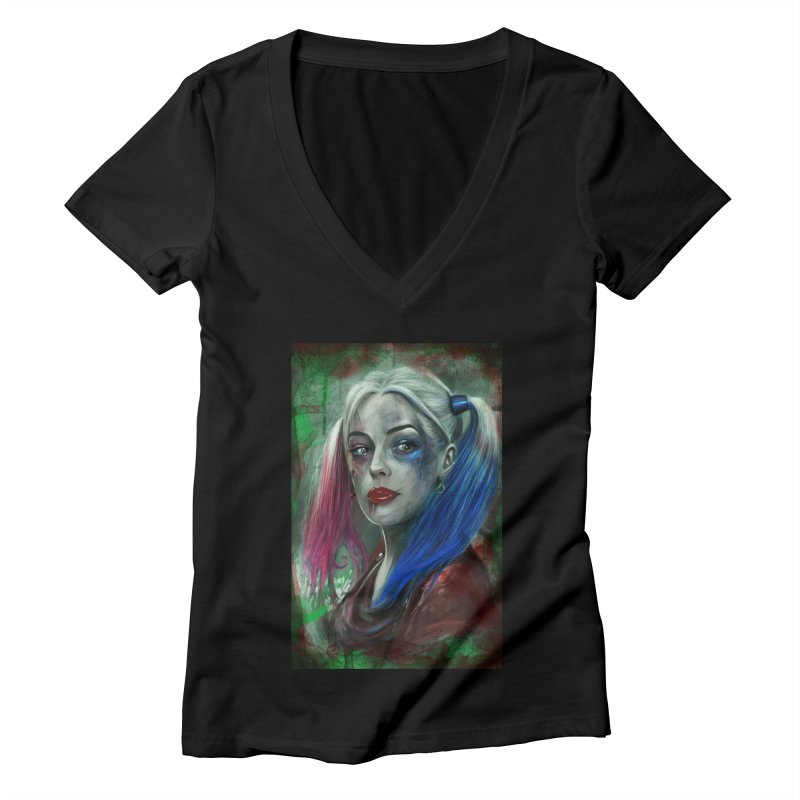 Harly Quinn Suicide Squad Women's V-Neck by Evolution Comics INC