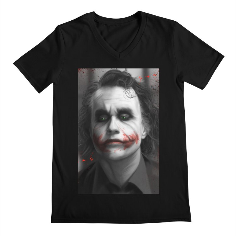 Joker - Heath Ledger Men's V-Neck by EvoComicsInc's Artist Shop