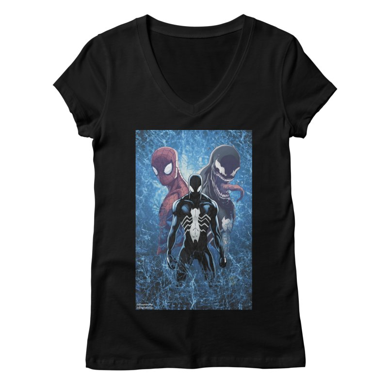 Spiderman - 3 Spidys Women's V-Neck by EvoComicsInc's Artist Shop