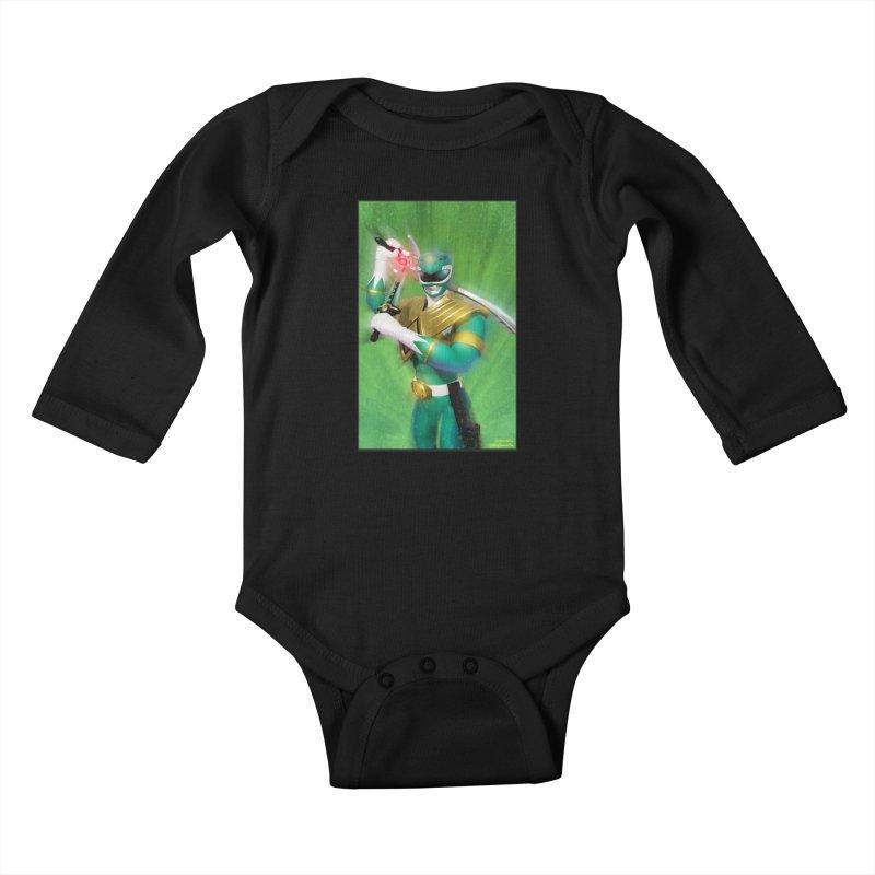 Green Ranger Kids Baby Longsleeve Bodysuit by EvoComicsInc's Artist Shop