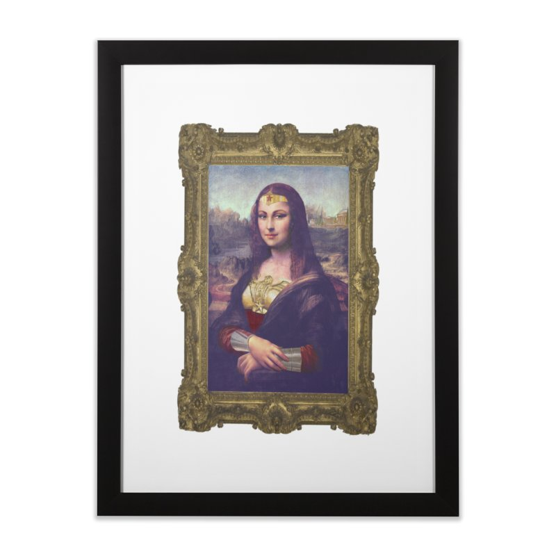The Wonder Woman of Mona Lisa Home Framed Fine Art Print by EvoComicsInc's Artist Shop