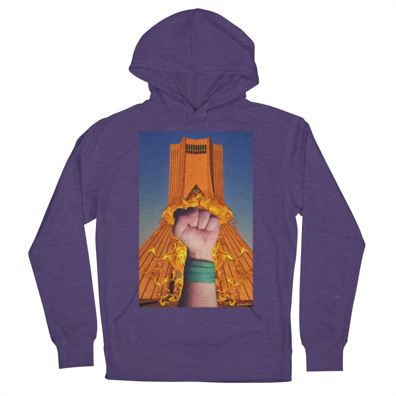 Free Iran Burning Fist Men's Pullover Hoody by EvoComicsInc's Artist Shop