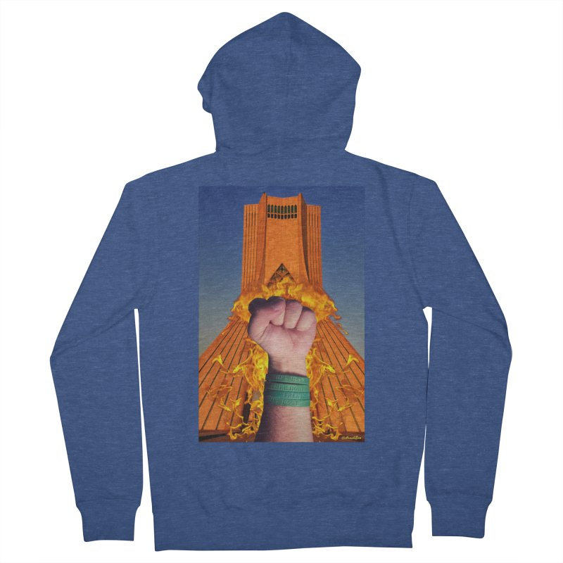 Free Iran Burning Fist Men's Zip-Up Hoody by EvoComicsInc's Artist Shop
