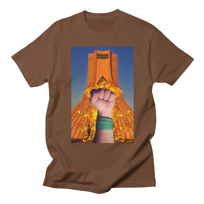 Free Iran Burning Fist Women's Unisex T-Shirt by EvoComicsInc's Artist Shop