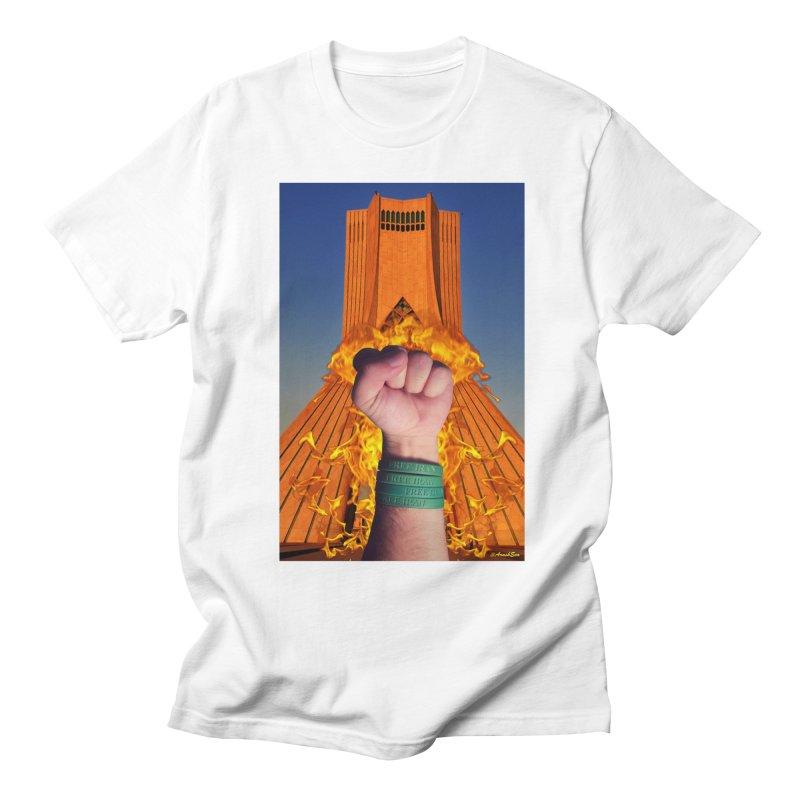Free Iran Burning Fist Men's T-Shirt by EvoComicsInc's Artist Shop