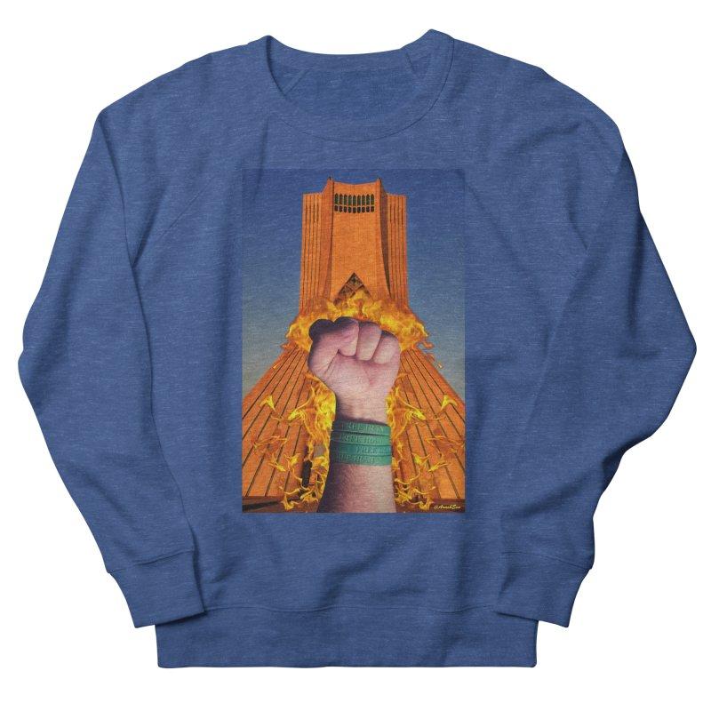 Free Iran Burning Fist Men's Sweatshirt by EvoComicsInc's Artist Shop