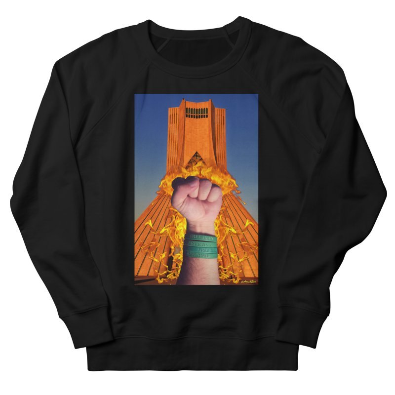 Free Iran Burning Fist Men's French Terry Sweatshirt by EvoComicsInc's Artist Shop