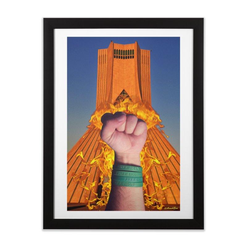 Free Iran Burning Fist Home Framed Fine Art Print by EvoComicsInc's Artist Shop
