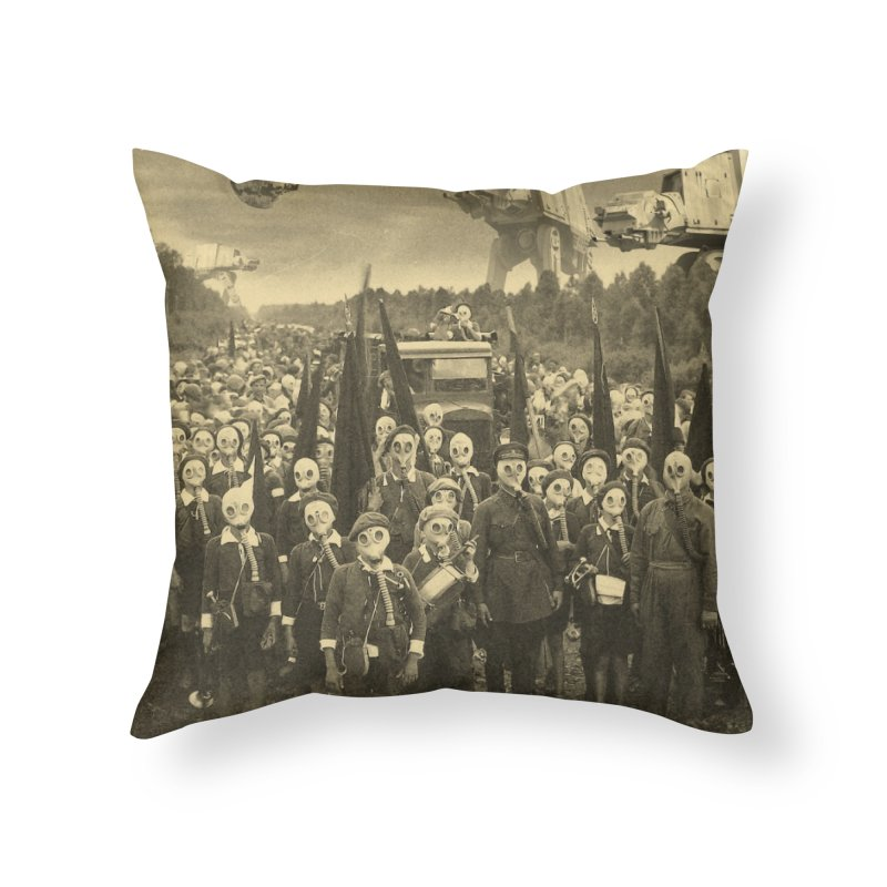 Gasmask Island Home Throw Pillow by EvoComicsInc's Artist Shop